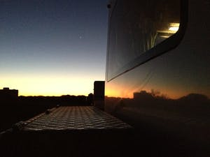 Those beautiful big night skies reflected on the back of our motorhome.