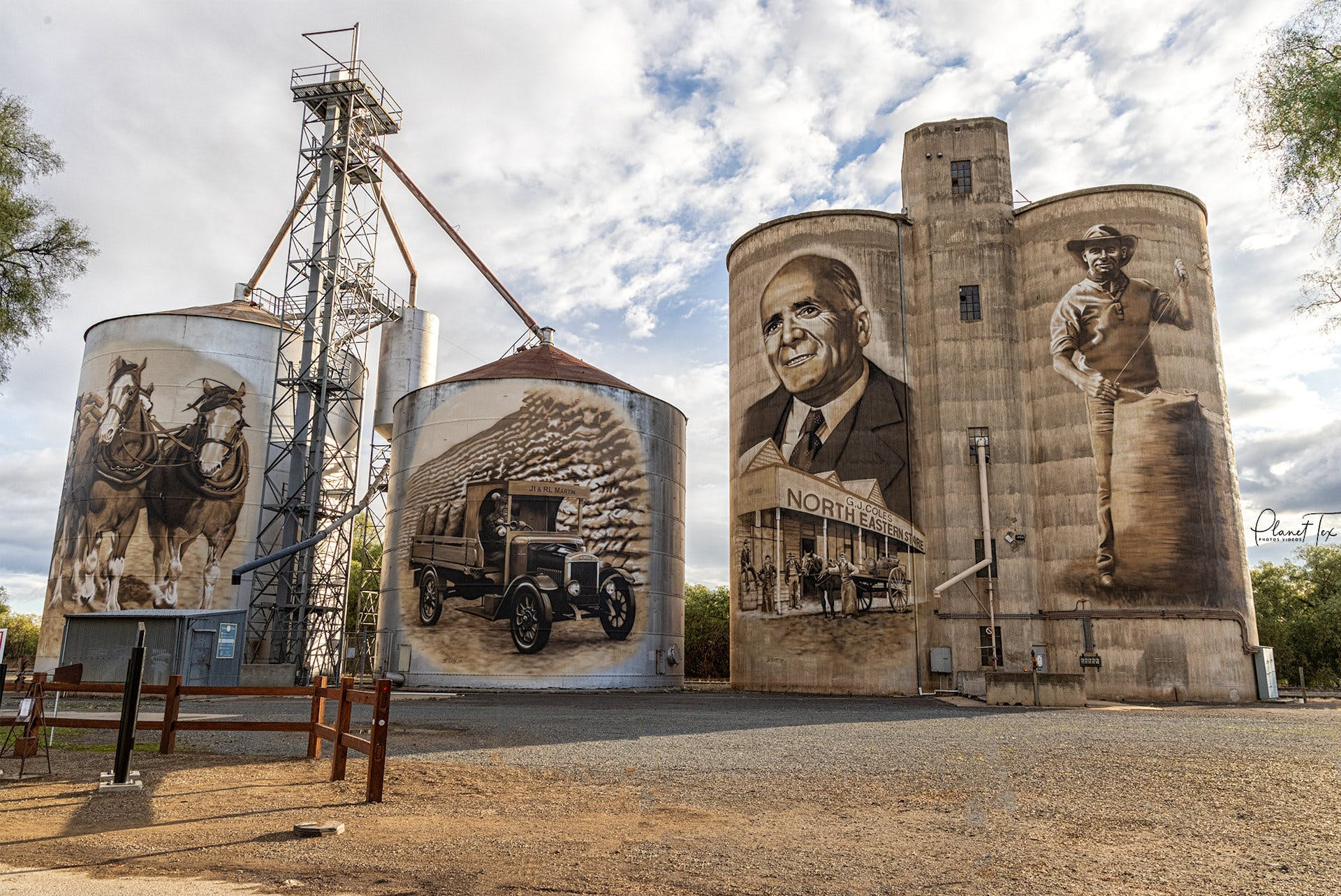 GrainCorp Silos at St James, Victoria, Photo by Planet Tex - Artist Tim Bowtell