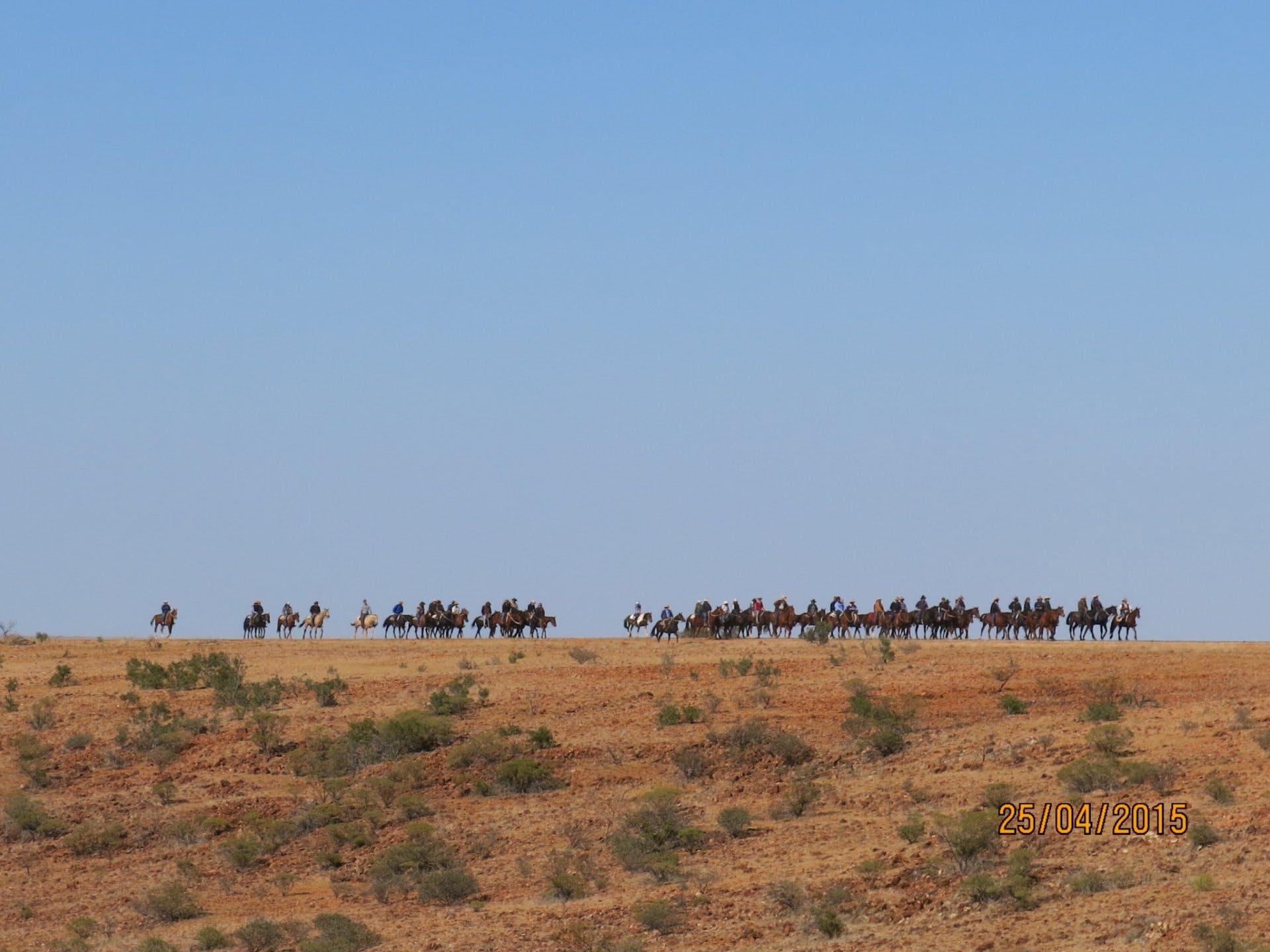Anzac Day 2015 - Horsemen on the hill - Vaughan Johnson Lookout