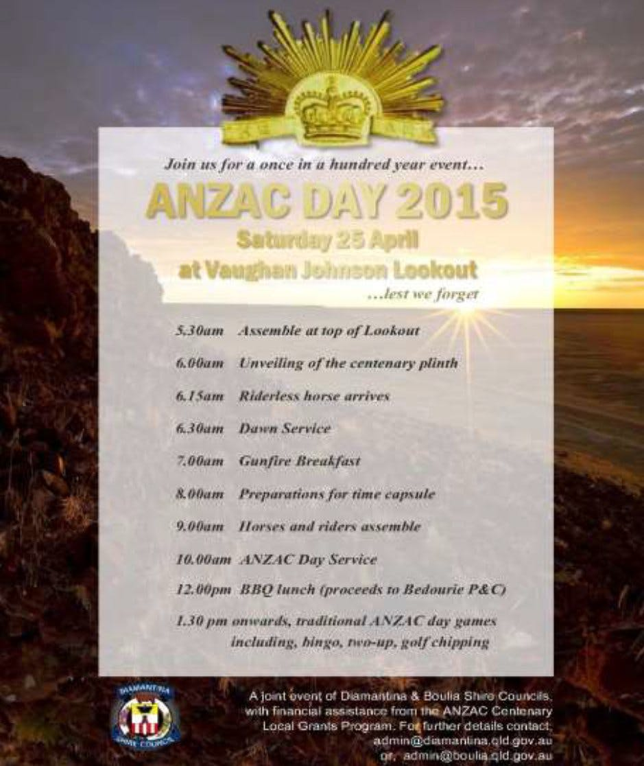 Anzac Day 2015 flyer - Vaughan Johnson Lookout