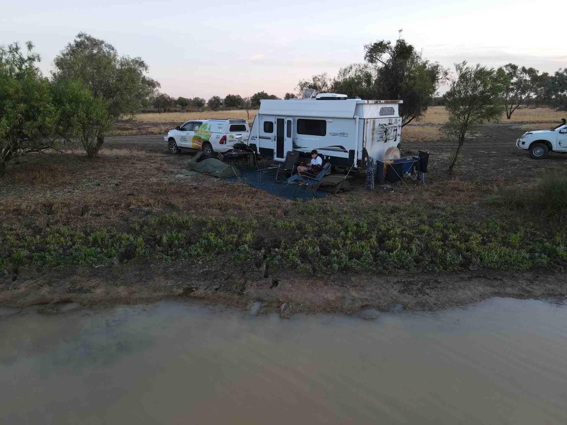 Camps Australia Wide stop at Winton - Long Waterhole image credit: Hugh Gilmore