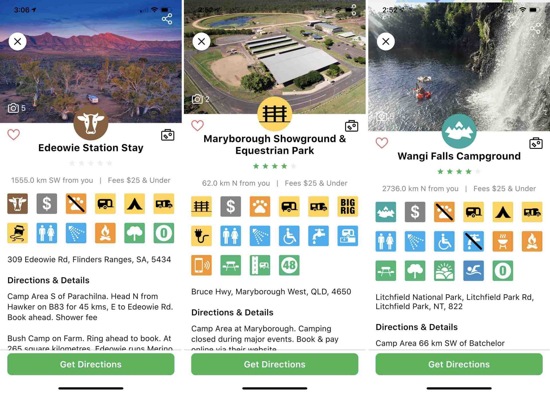 Camps Australia Wide App V4.0 - Edowie Station Stay, Maryborough Showground, Wangi Falls
