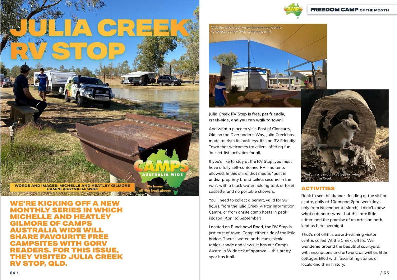 GoRV magazine - Julia Creek RV Stop 1