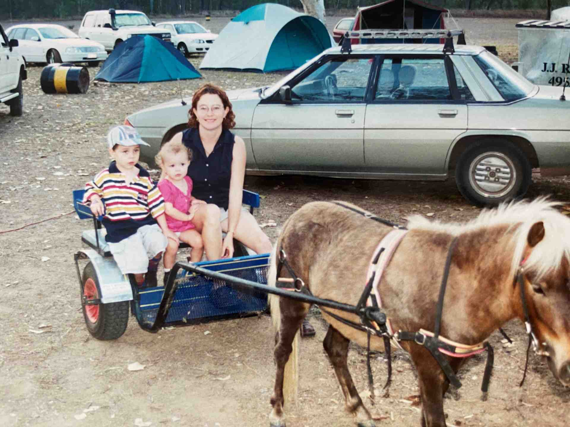 Michelle and Kids in Pony Carriage ride