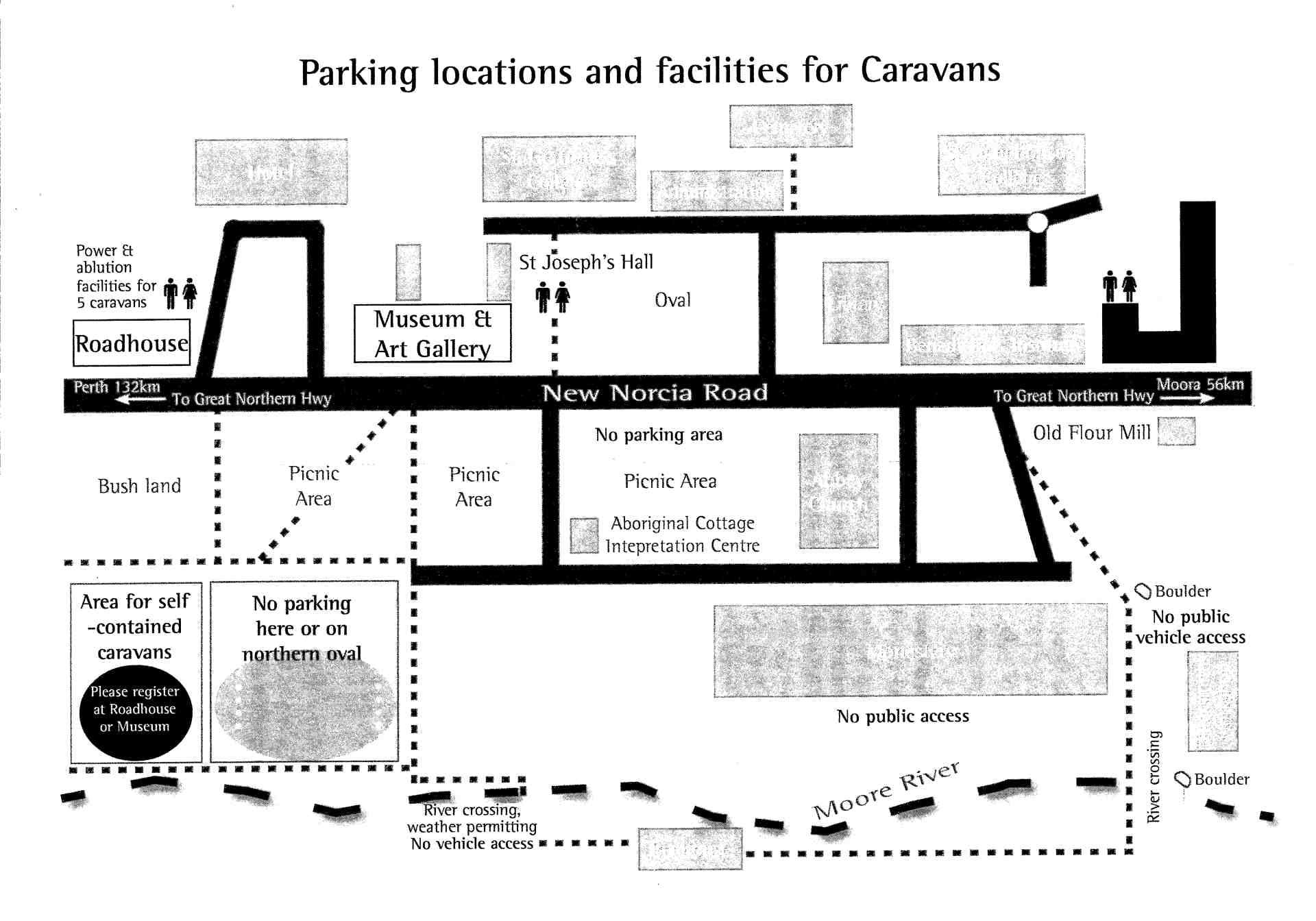 New Norcia camping map