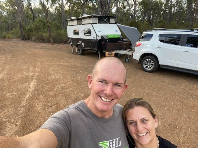 Mark and Helen Hardie from Wandering/Mandurah WA. They are pictured here atWA 214 - Rocky Gully.
