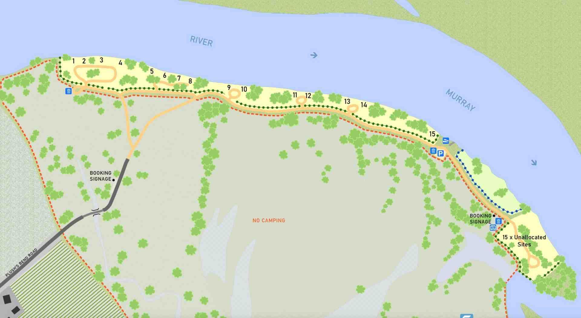Plushs Bend RV Park SA Map