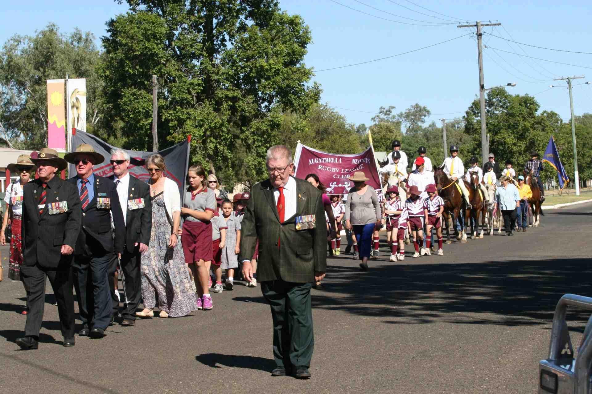 RSM Noel Huish OAM Ret. Leading the Anzac march in Augathella