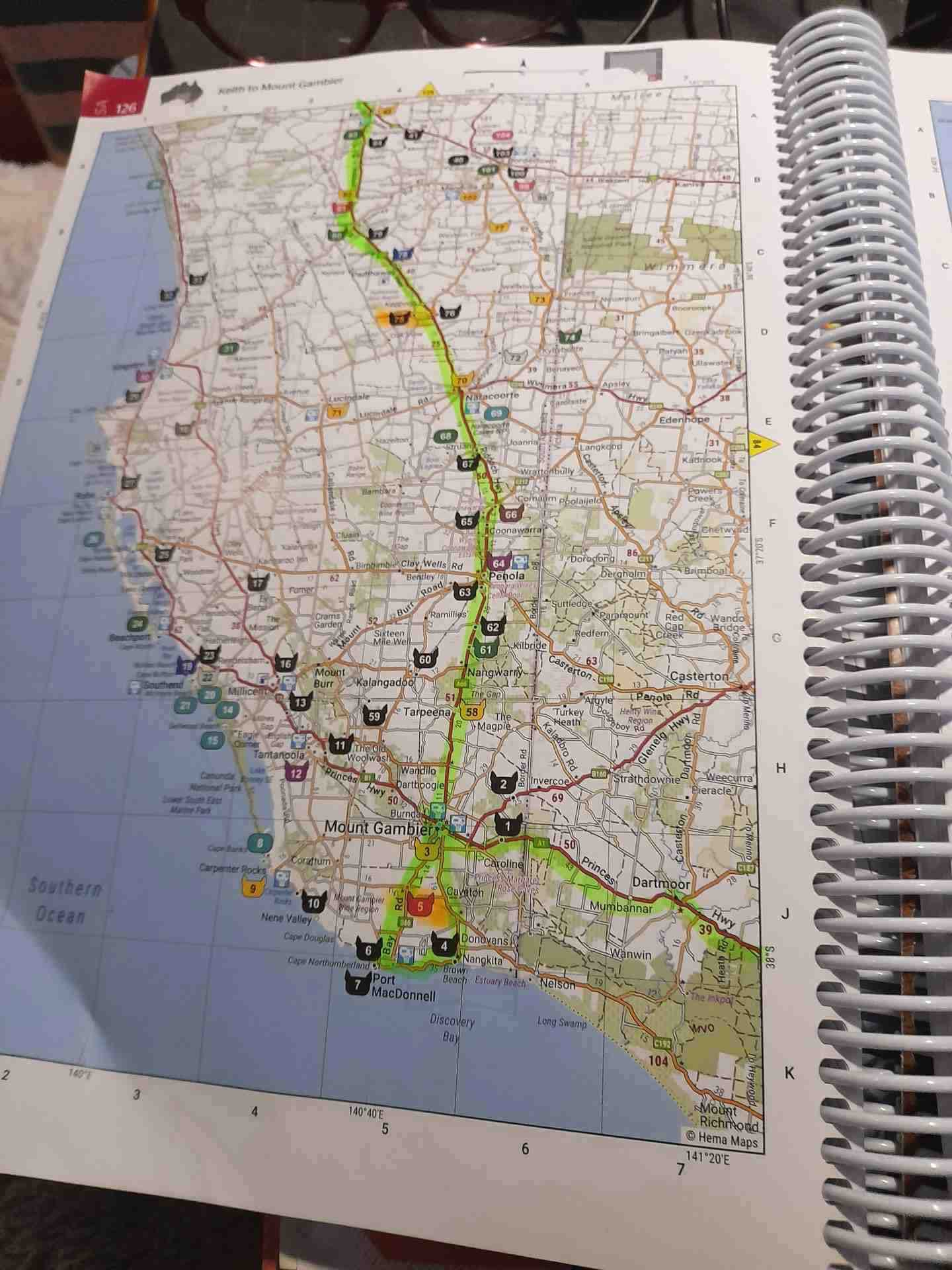 Kaz Nagle's Camps 11 book marked up with her travels