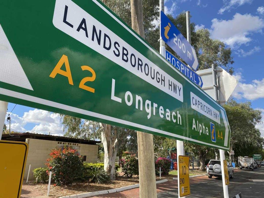 Longreach - Alpha Road sign