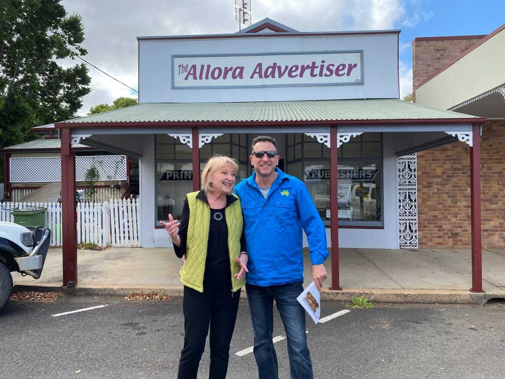 Heatley with Mim Rogers at the Allora Advertiser